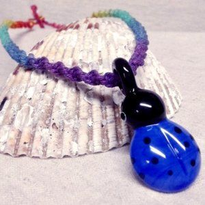 Rainbow Glass Ladybug Pendant Hemp Necklace